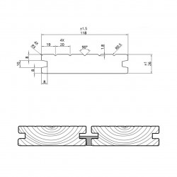 Terasové desky THERMO BOROVICE 26x118x2400-3000mm CLIP