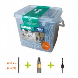 SPAX - vrut na terasy a fasády, WIROX, 400ks+bit+vrták